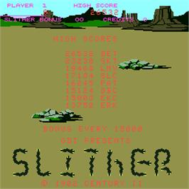 Title screen of Slither on the Arcade.