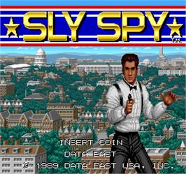 Title screen of Sly Spy on the Arcade.