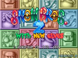 Title screen of Snow Bros. 2 - With New Elves / Otenki Paradise on the Arcade.