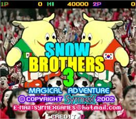 Title screen of Snow Brothers 3 - Magical Adventure on the Arcade.