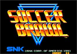 Title screen of Soccer Brawl on the Arcade.
