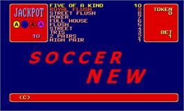 Title screen of Soccer New on the Arcade.