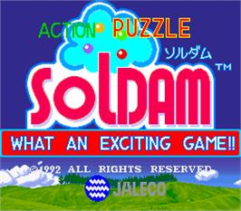 Title screen of Soldam on the Arcade.
