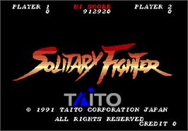 Title screen of Solitary Fighter on the Arcade.