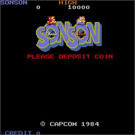 Title screen of Son Son on the Arcade.