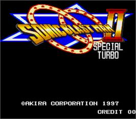 Title screen of Sonic Blast Man 2 Special Turbo on the Arcade.