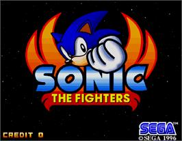 Title screen of Sonic The Fighters on the Arcade.