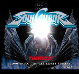 Title screen of Soul Calibur on the Arcade.