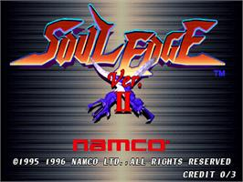 Title screen of Soul Edge Ver. II on the Arcade.