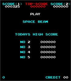 Title screen of Space Beam on the Arcade.