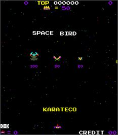 Title screen of Space Bird on the Arcade.