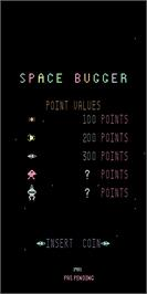 Title screen of Space Bugger on the Arcade.