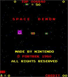 Title screen of Space Demon on the Arcade.