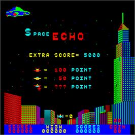 Title screen of Space Echo on the Arcade.