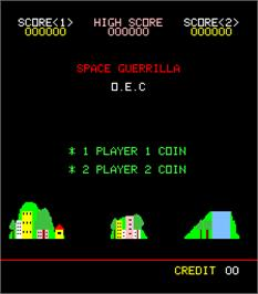 Title screen of Space Guerrilla on the Arcade.