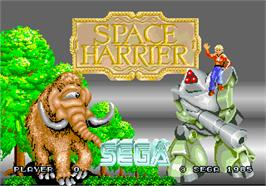 Title screen of Space Harrier on the Arcade.