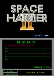 Title screen of Space Harrier II on the Arcade.