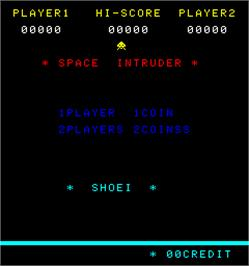 Title screen of Space Intruder on the Arcade.