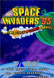 Title screen of Space Invaders '95: The Attack Of Lunar Loonies on the Arcade.