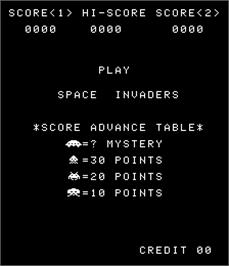 Title screen of Space Invaders / Space Invaders M on the Arcade.