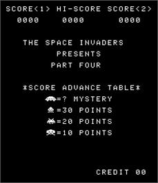 Title screen of Space Invaders Part Four on the Arcade.