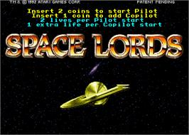 Title screen of Space Lords on the Arcade.