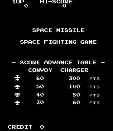 Title screen of Space Missile - Space Fighting Game on the Arcade.