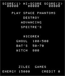 Title screen of Space Phantoms on the Arcade.