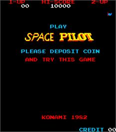 Title screen of Space Pilot on the Arcade.