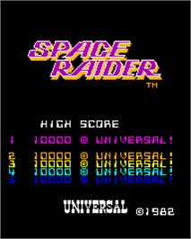 Title screen of Space Raider on the Arcade.