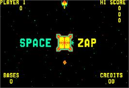 Title screen of Space Zap on the Arcade.
