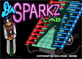 Title screen of Sparkz on the Arcade.