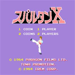 Title screen of Spartan X on the Arcade.