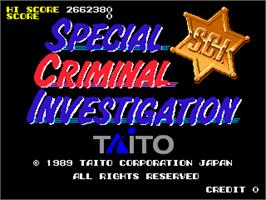 Title screen of Special Criminal Investigation on the Arcade.
