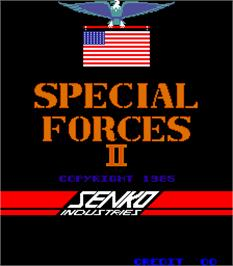 Title screen of Special Forces II on the Arcade.