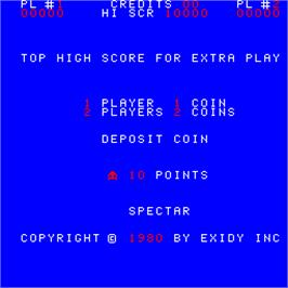 Title screen of Spectar on the Arcade.