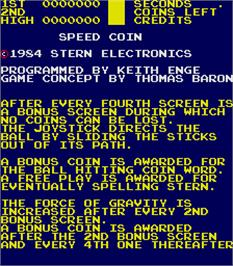 Title screen of Speed Coin on the Arcade.