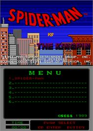 Title screen of Spider-Man vs The Kingpin on the Arcade.