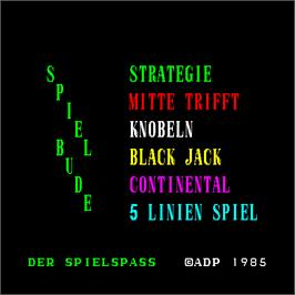 Title screen of Spiel Bude on the Arcade.