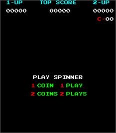 Title screen of Spinner on the Arcade.
