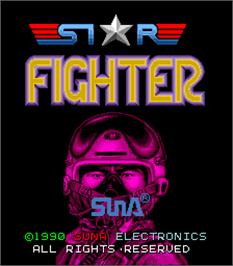 Title screen of Star Fighter on the Arcade.