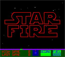 Title screen of Star Fire on the Arcade.