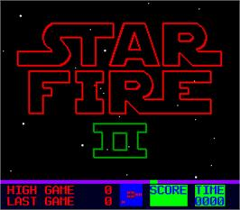 Title screen of Star Fire 2 on the Arcade.