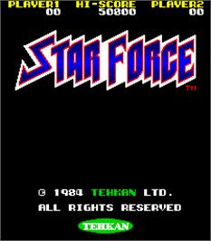 Title screen of Star Force on the Arcade.