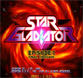 Title screen of Star Gladiator on the Arcade.