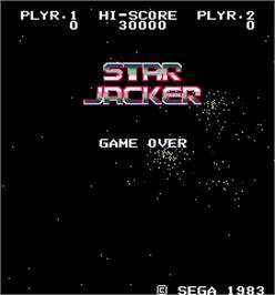 Title screen of Star Jacker on the Arcade.