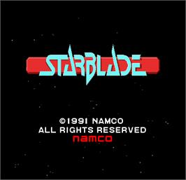 Title screen of Starblade on the Arcade.