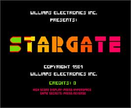 Title screen of Stargate on the Arcade.