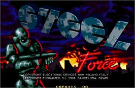 Title screen of Steel Force on the Arcade.