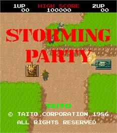 Title screen of Storming Party / Riku Kai Kuu Saizensen on the Arcade.